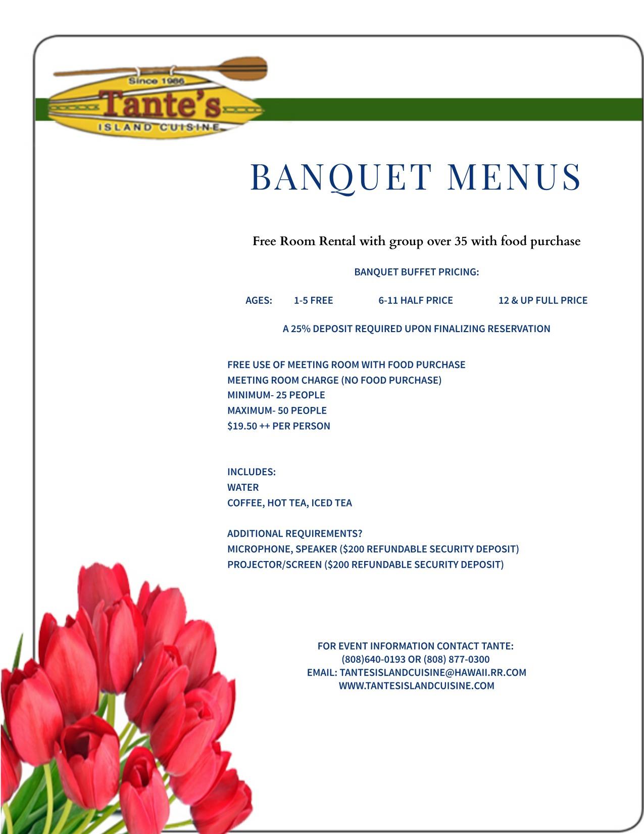 Banquet Menus for Tantes Island Cuisine 2017