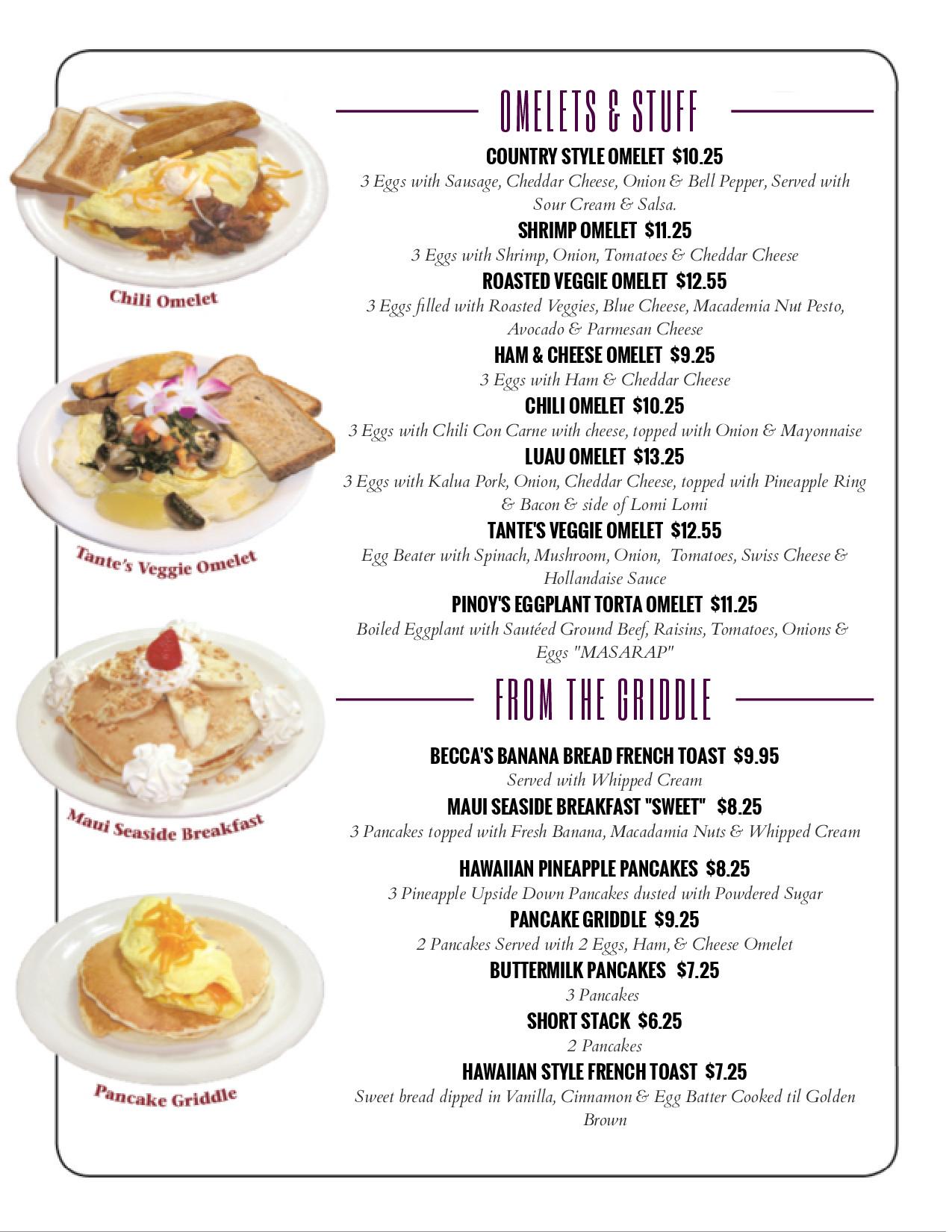 Menu tante 39 s island cuisine the best hawaiian filipino for American cuisine menu